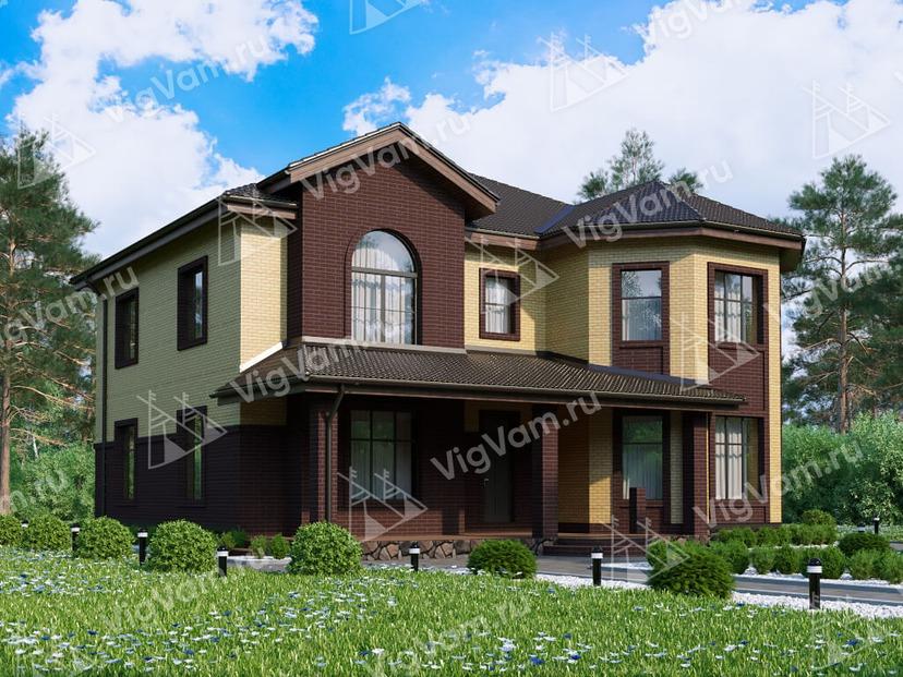 """Каркасный дом с террасой V107 """"Грантс"""""""