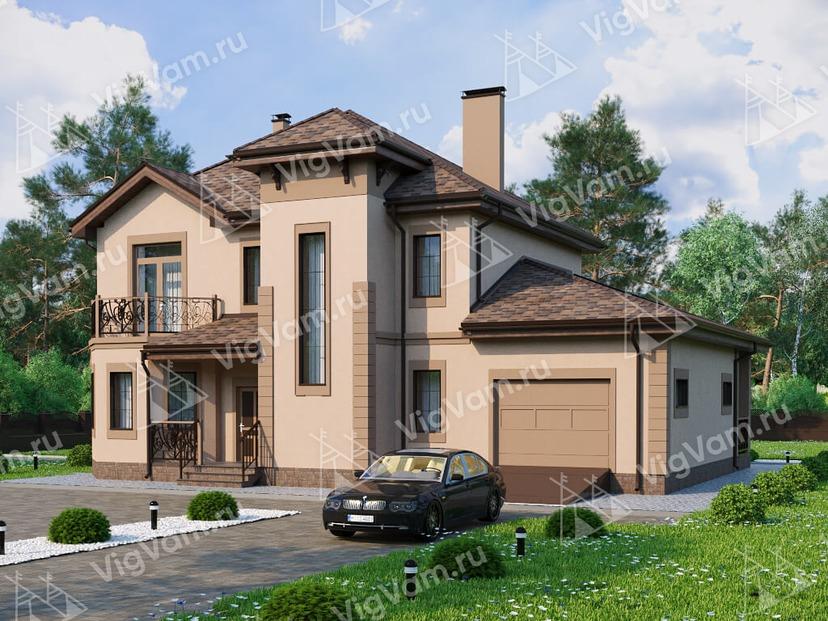 """Каркасный дом с 3 спальнями и гаражом V077 """"Гранд Форкс"""""""