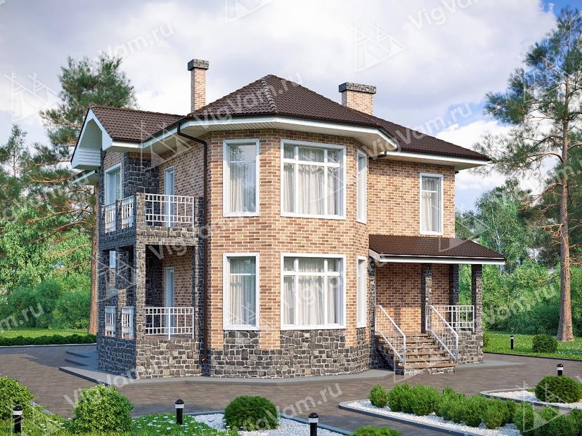 """Каркасный дом с 3 спальнями и эркером V137 """"Милфорд"""""""