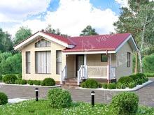 """Каркасный дом с террасой V103 """"Винелэнд"""""""