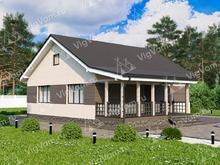 """Каркасный дом с 3 спальнями и террасой V075 """"Хамилтон"""""""