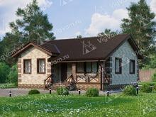 """Каркасный дом с 2 спальнями и террасой V074 """"Кент"""""""