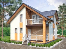 """Каркасный дом с мансардой V135 """"Торрингтон"""""""