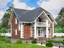 """Каркасный дом с террасой V099 """"Рутхерфорд"""""""