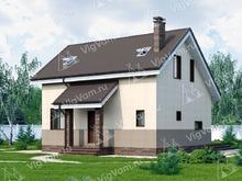 """Каркасный дом с террасой V098 """"Росвелл"""""""