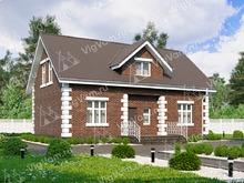 """Каркасный дом с террасой V097 """"Гленс Фаллс"""""""