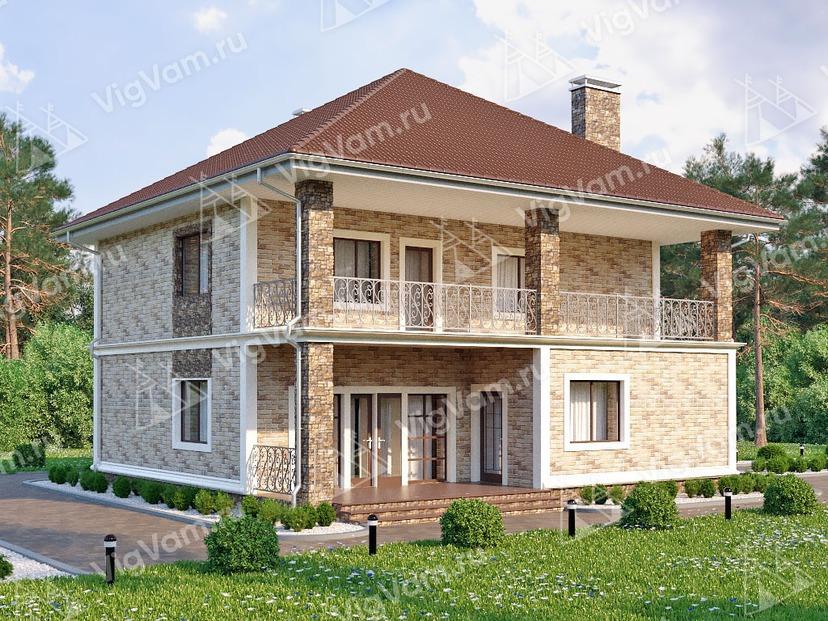 """Каркасный дом с балконом V131 """"Бордентоун"""""""