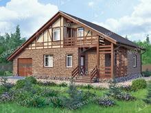 """Каркасный дом с гаражом V130 """"Боунд Брок"""""""