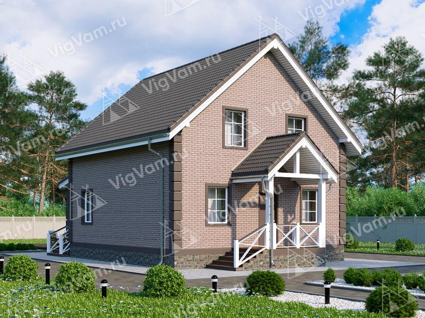 """Каркасный дом с мансардой, 4 спальнями и верандой V009 """"Айкен"""""""