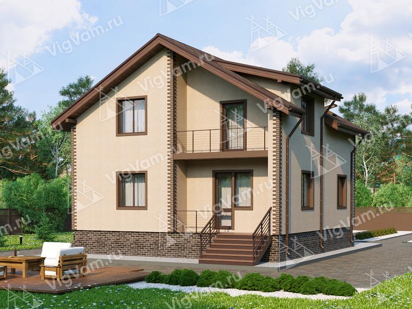 """Каркасный дом с мансардой, 3 спальнями и балконом V030 """"Рок Спрингс"""""""