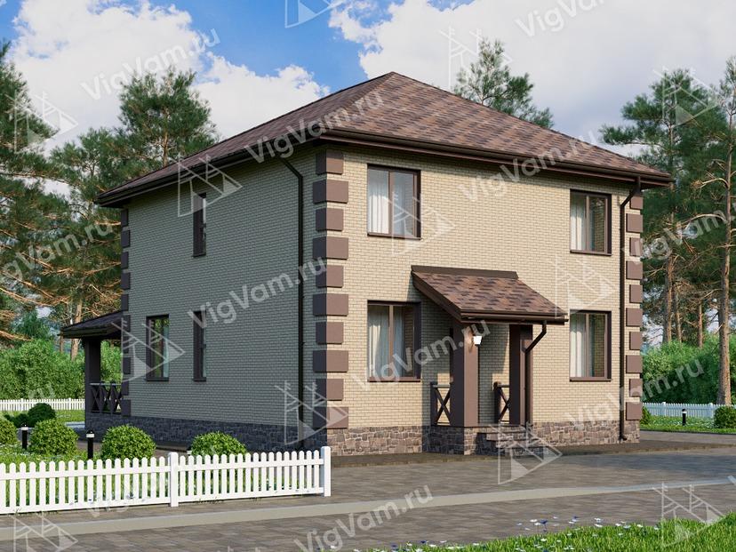 """Каркасный дом с 4 спальнями и террасой V029 """"Ривертон"""""""