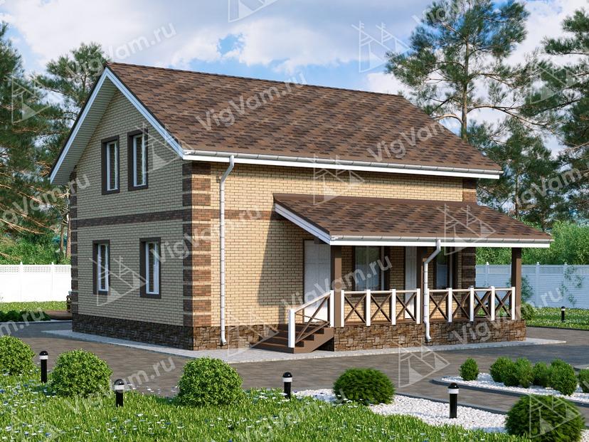 """Каркасный дом с мансардой, 3 спальнями и террасой V015 """"Хартсвилл"""""""