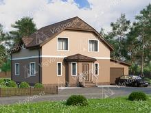 """Каркасный дом с мансардой, 3 спальнями и гаражом V014 """"Миртл"""""""