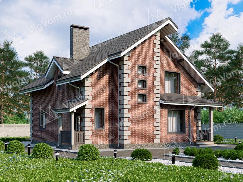 """Каркасный дом с мансардой, 3 спальнями и террасой V013 """"Самтер"""""""