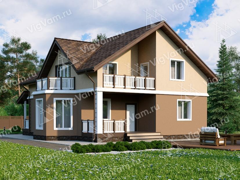 """Каркасный дом с мансардой, 4 спальнями, эркером и террасой V026 """"Каспер"""""""