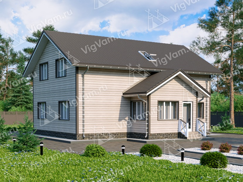 """Каркасный дом с мансардой, 4 спальнями и террасой V025 """"Ландер"""""""