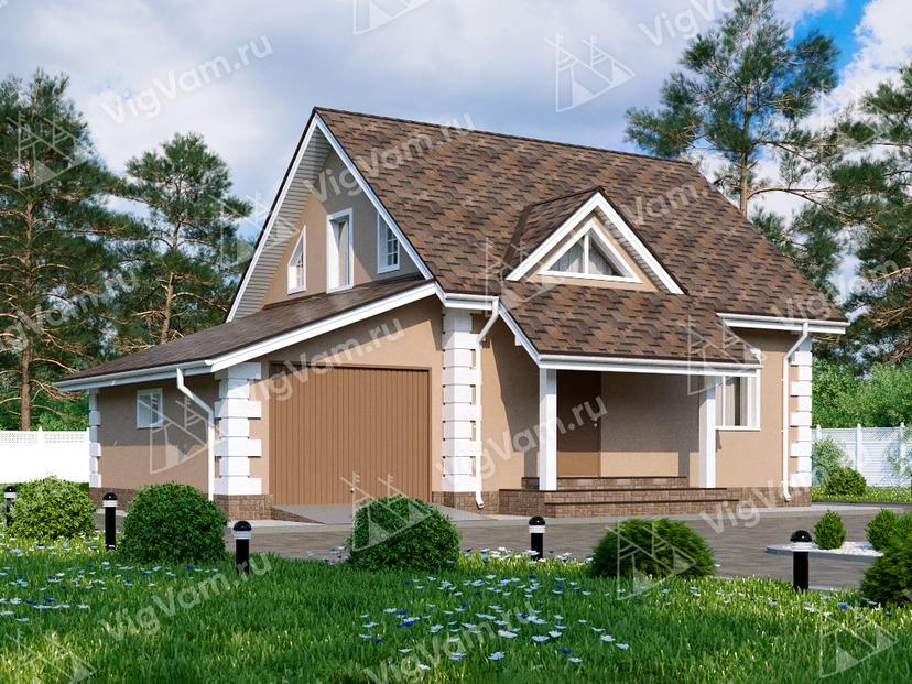"""Дом из газобетона с гаражом и 3 спальнями VG034 """"Поувелл"""""""