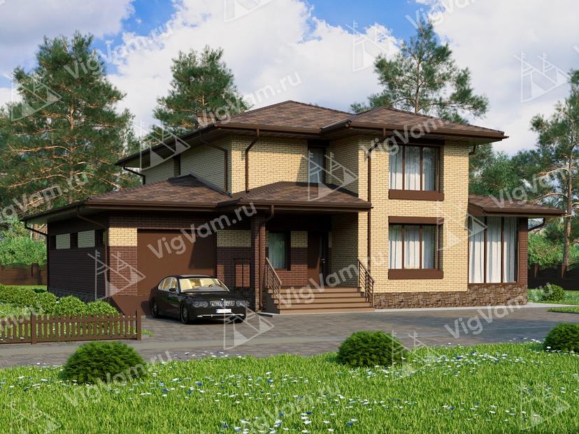 """Каркасный дом с 4 спальнями и гаражом V023 """"Мобридж"""""""