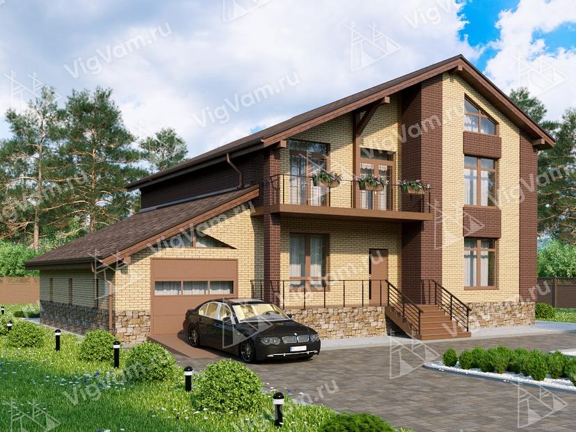 """Каркасный дом с гаражом и 4 спальнями V033 """"Графтон"""""""