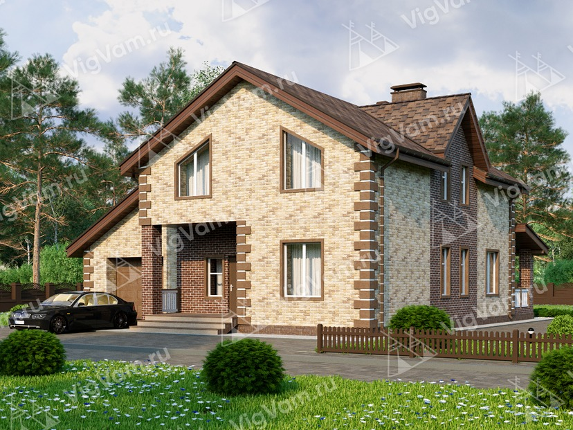 """Каркасный дом с мансардой, 5 спальнями и гаражом V019 """"Эдентон"""""""