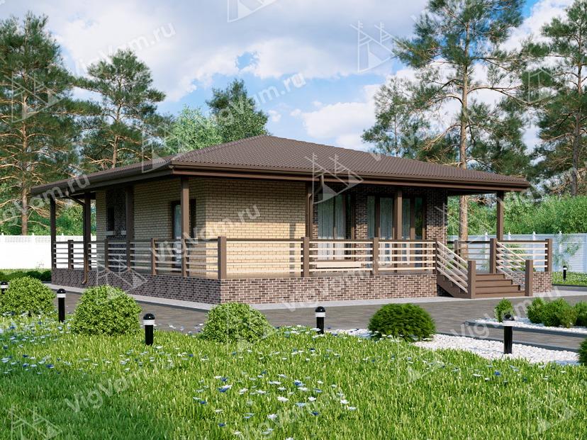 """Каркасный дом с 1 спальней и террасой V018 """"Голдсборо"""""""