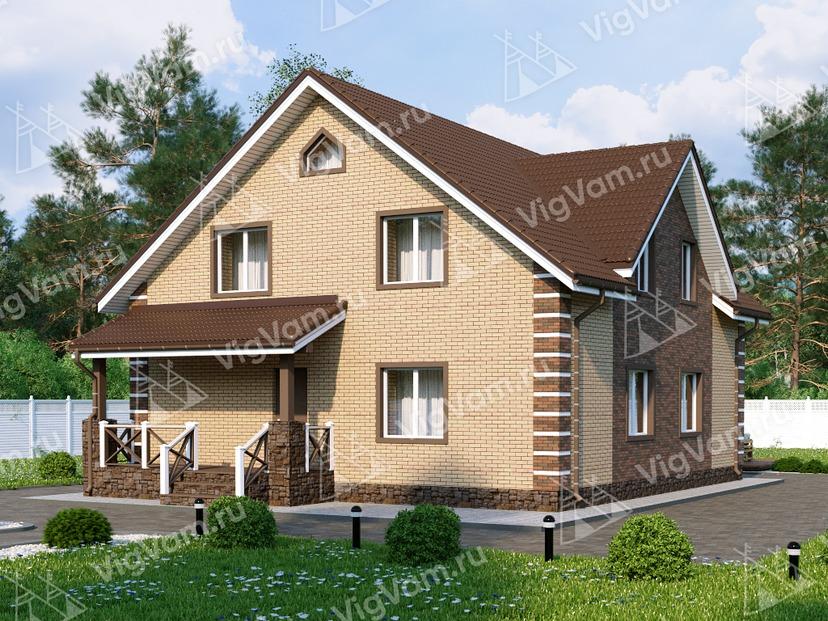 """Дом из керамического блока с мансардой, 3 спальнями и террасой VK017 """"Гастониа"""""""