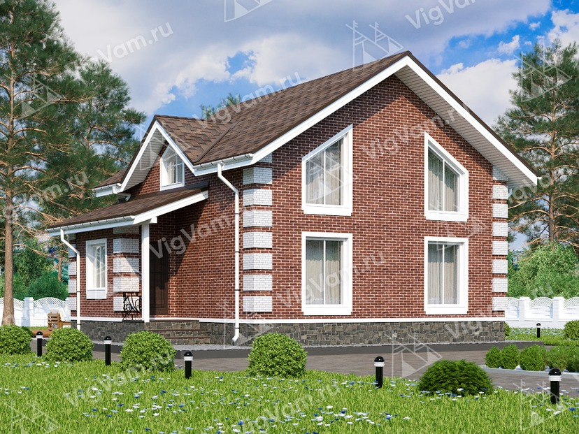 """Каркасный дом с мансардой и 4 спальнями V048 """"Брэдфорд"""""""