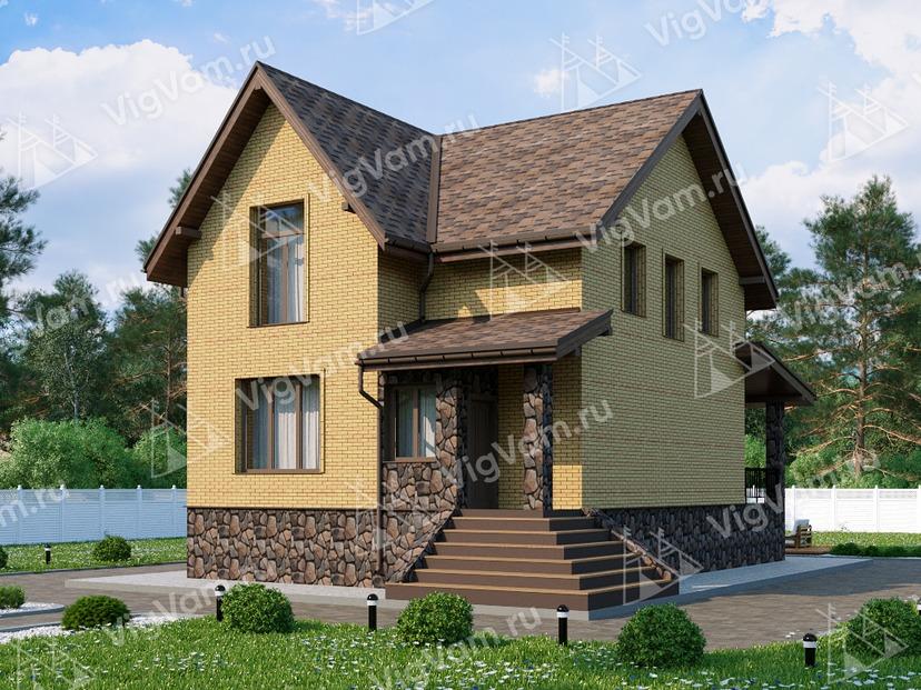 """Дом из газобетона с мансардой, террасой и 3 спальнями VG047 """"Карлис"""""""