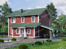 """Каркасный дом с 3 спальнями и навесом для машины V046 """"Германтаун"""""""