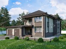 """Каркасный дом с 3 спальнями и гаражом на 2 машины V044 """"Гринсбург"""""""