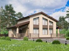 """Каркасный дом с 3 спальнями и террасой V064 """"Альтрус"""""""