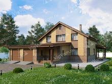 """Каркасный дом с мансардой, 3 спальнями и гаражом на 2 машины V043 """"Хазлтон"""""""