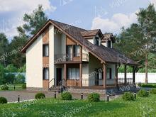 """Каркасный дом с мансардой, 3 спальнями и террасой V062 """"Бартлесвиль"""""""