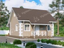 """Каркасный дом с террасой и 1 спальней V061 """"Кларемор"""""""