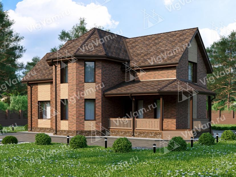 """Каркасный дом с 3 спальнями, эркером и террасой V004 """"Фэирмонт"""""""