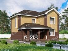 """Каркасный дом с 2 спальнями и террасой V041 """"Мидвиль"""""""