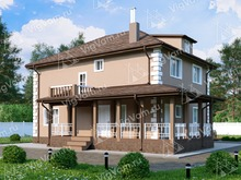 """Каркасный дом с 4 спальнями и террасой V040 """"Потстаун"""""""