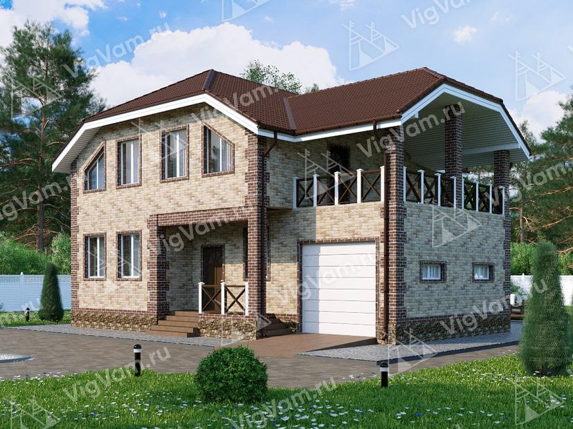"""Каркасный дом с гаражом V039 """"Скрантон"""""""