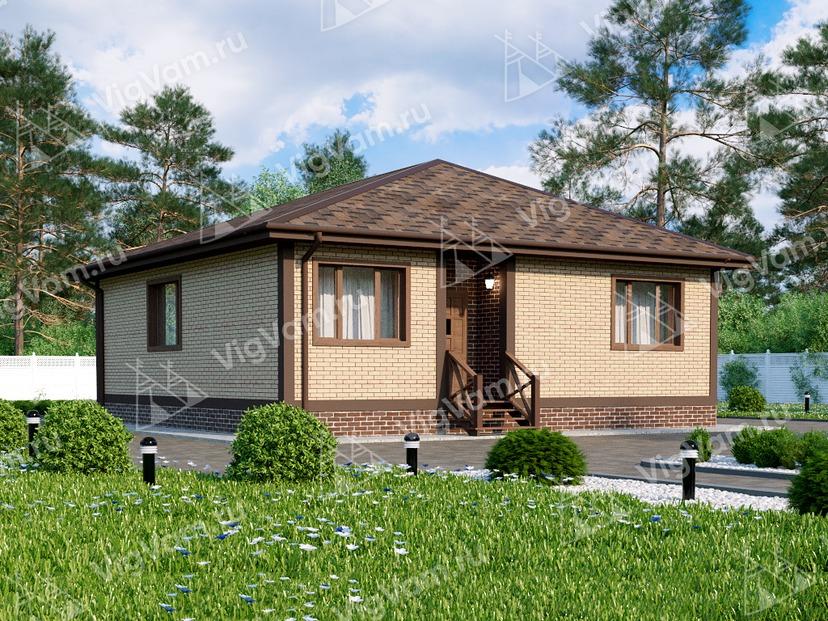 """Каркасный дом с 2 спальнями и террасой V008 """"Дельта"""""""