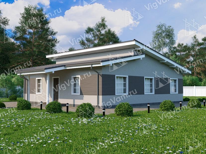 """Каркасный дом с 3 спальнями и террасой V051 """"Росебург"""""""