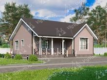 """Каркасный дом с 2 спальнями и террасой V005 """"Лейтон"""""""