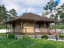 """Каркасный дом с террасой V036 """"Баррингтон"""""""