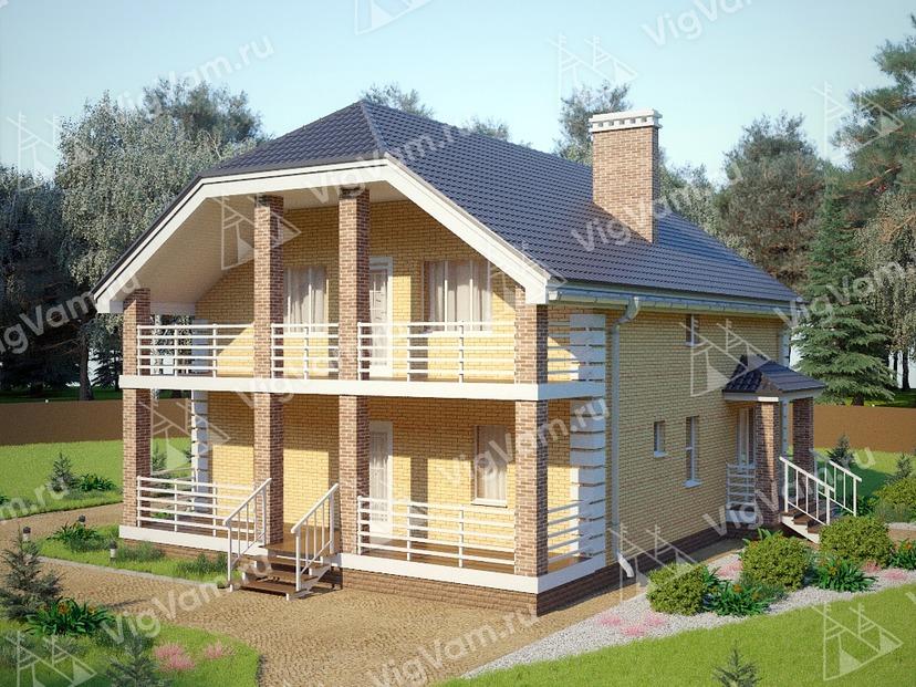 """Каркасный дом с большой террасой и балконом V299 """"Флип"""""""