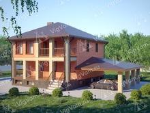 """Каркасный дом с цокольным этажом и навесом для машины V313 """"Саймон"""""""