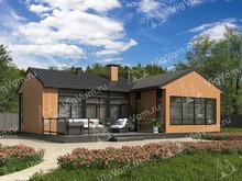 """Каркасный дом с террасой V470 """"Розберг"""""""