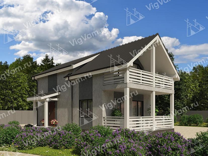 """Каркасный дом с балконом и террасой V472 """"Бишоп"""""""